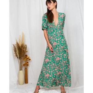Poppy Field The Label Adella Deep V Maxi Dress Mentawei Green