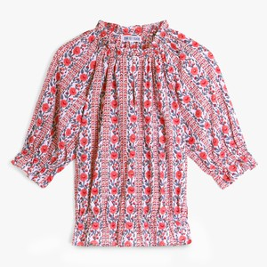 Beatrice S/S Gthrd Wst Blouse Coral Meadow