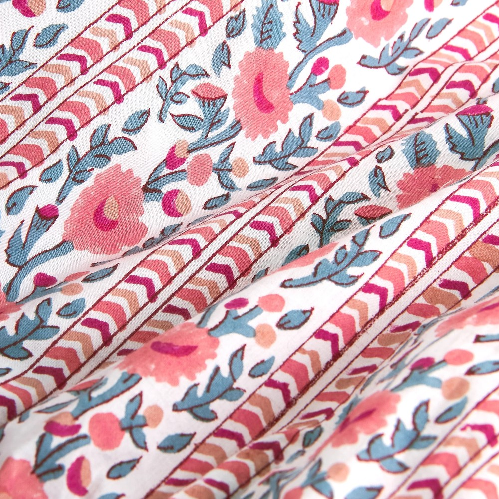 Pink City Prints Beatrice S/S Gthrd Wst Blouse Coral Meadow