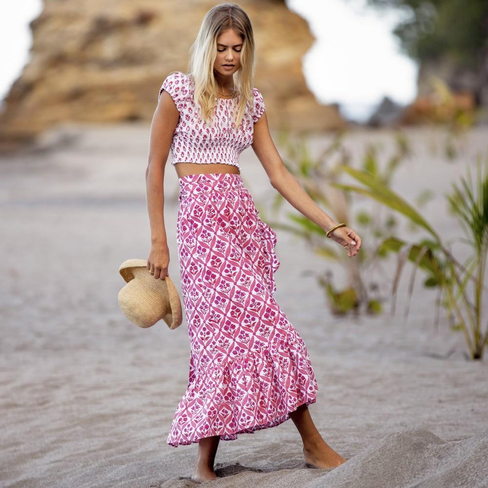 Pink City Prints Floral Wrap Ruffle Skirt Strawberry Trellis