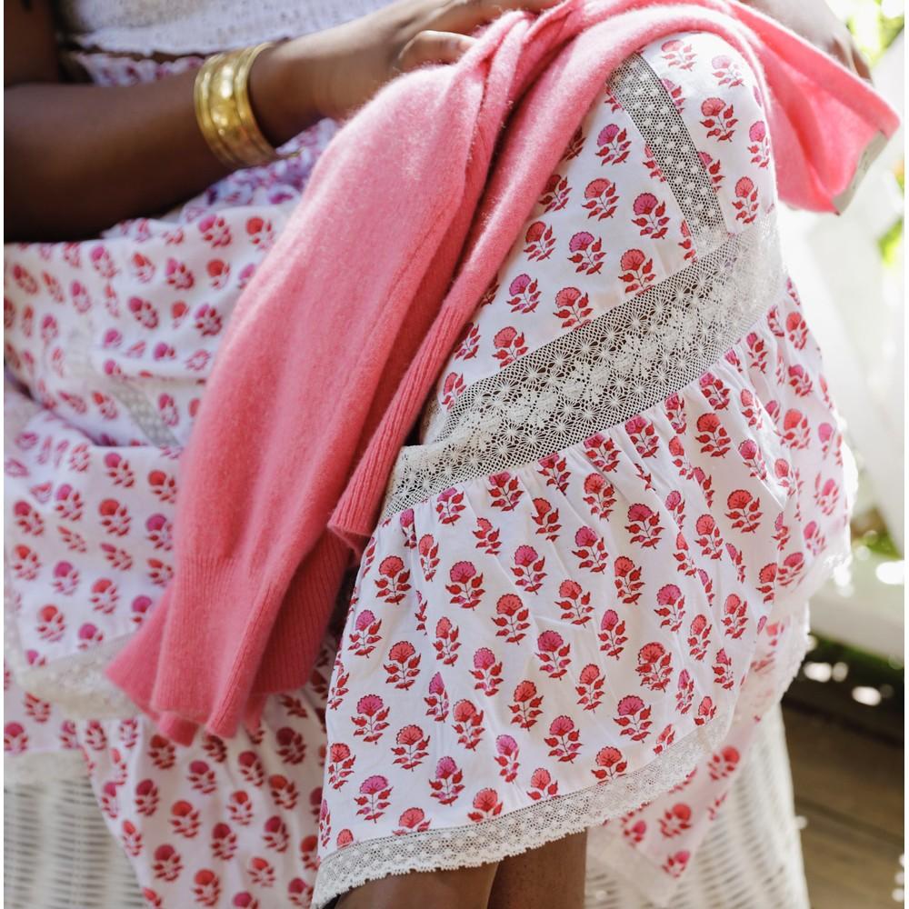Pink City Prints Cienna Lace Panel Skirt Strawberry Fields