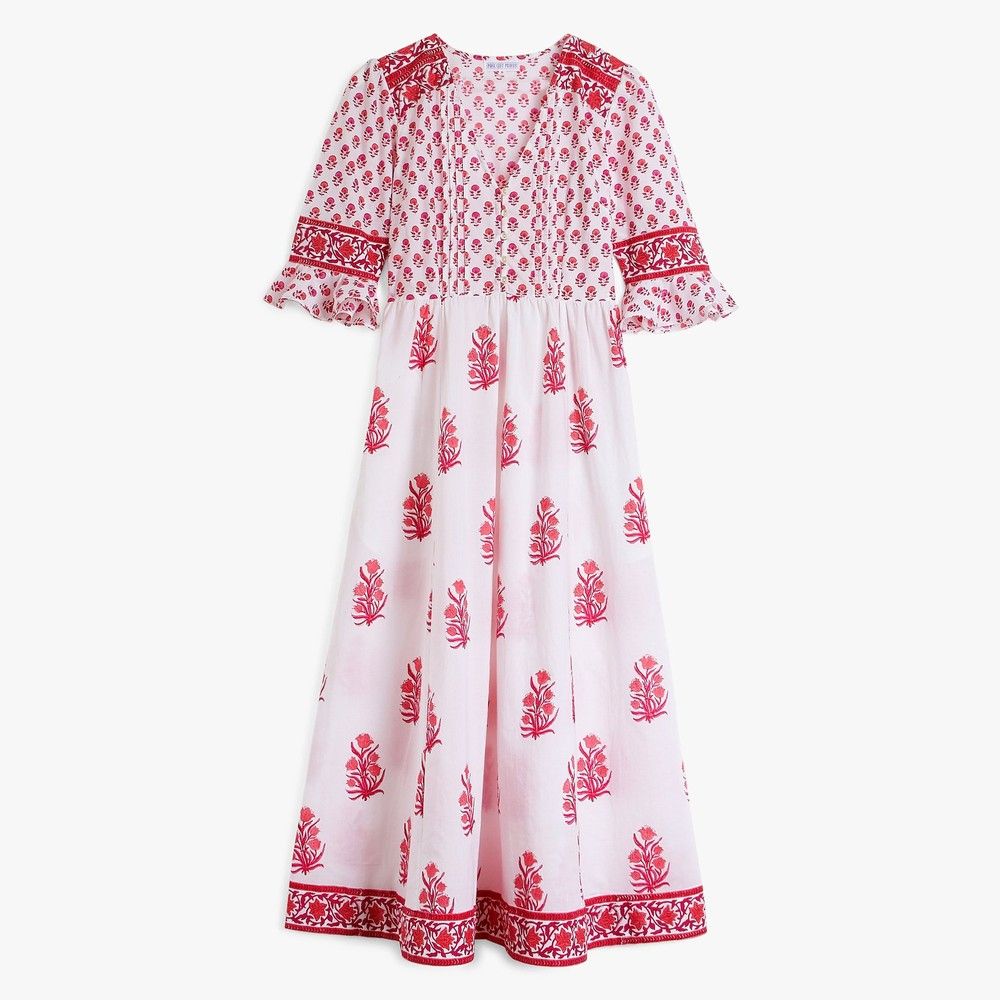 Pink City Prints Maria Zip Dress with Slip Strawberry Bouquet