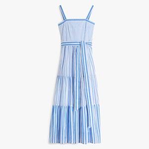 Betty Tie Back Sripe Dress Cornflower/White