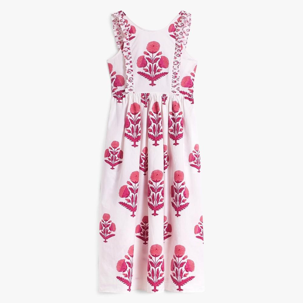 Pink City Prints Botanical S/L Floral Dress Rose Marigold