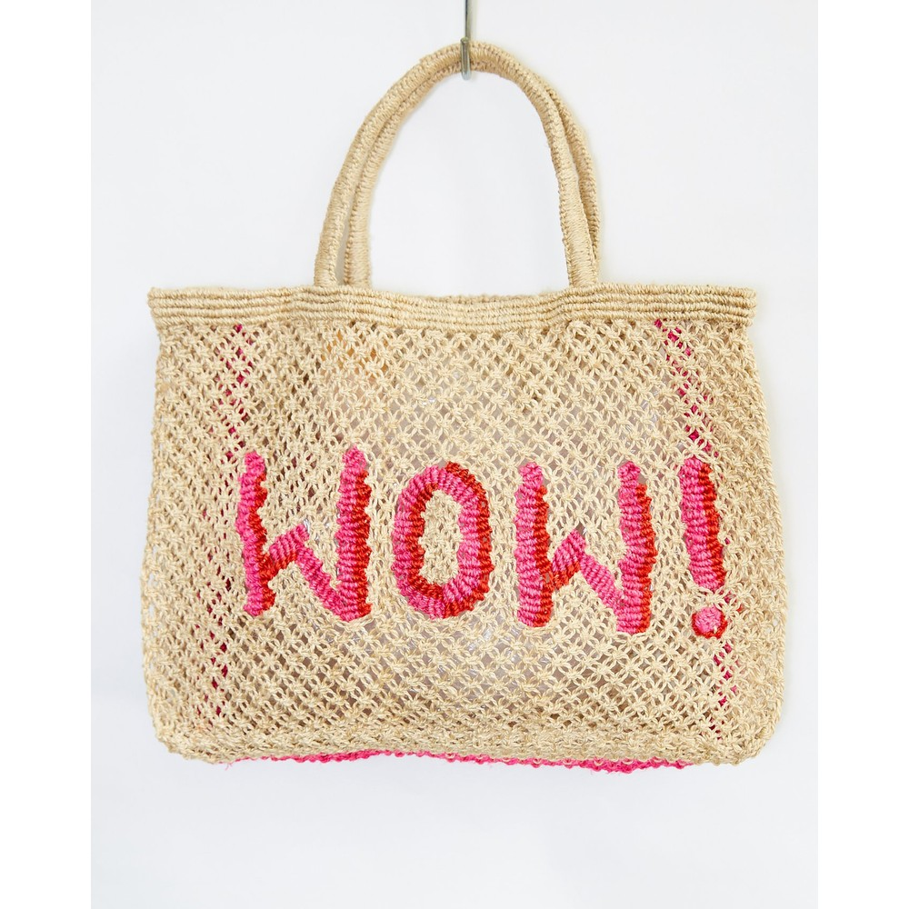 The Jacksons WOW Small Jute Bag Natural/Pink