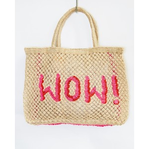 The Jacksons WOW Small Jute Bag in Natural/Pink