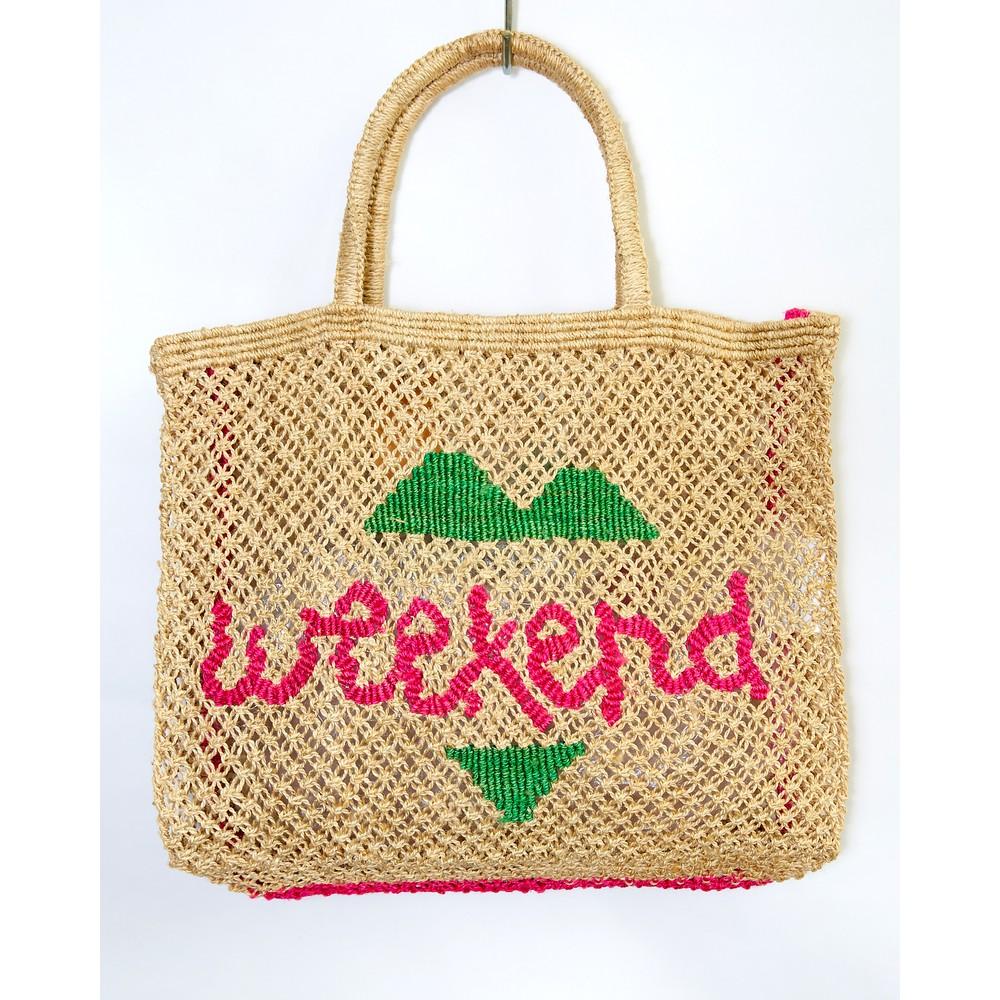 The Jacksons Weekend Large Jute Bag Natural/Pink/Green