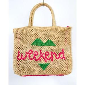 Weekend Large Jute Bag Natural/Pink/Green