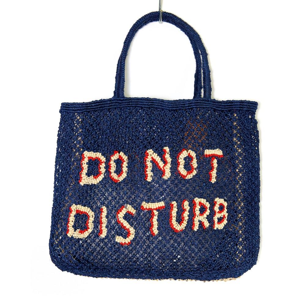The Jacksons Do Not Disturb Large Jute Bag Indigo/Natural
