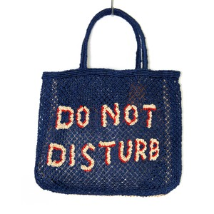 The Jacksons Do Not Disturb Large Jute Bag in Indigo/Natural