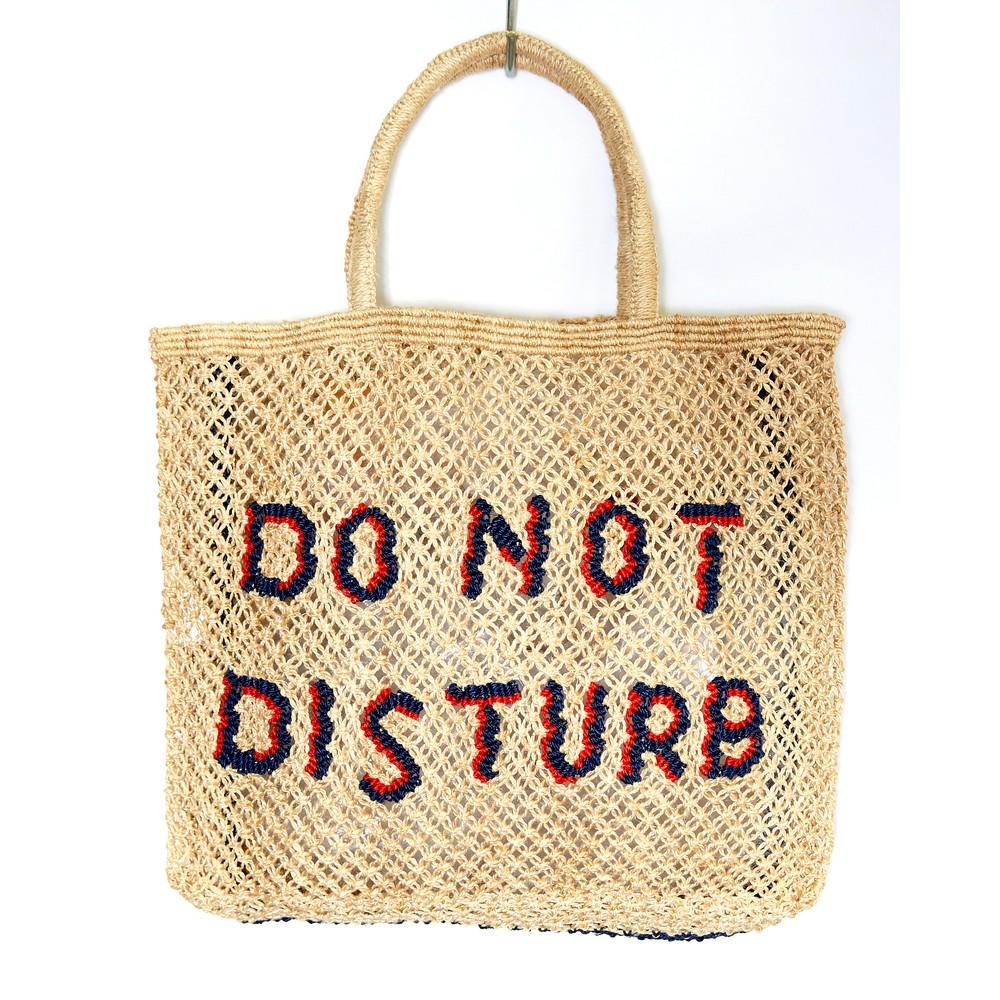 The Jacksons Do Not Disturb Large Jute Bag Natural/Indigo