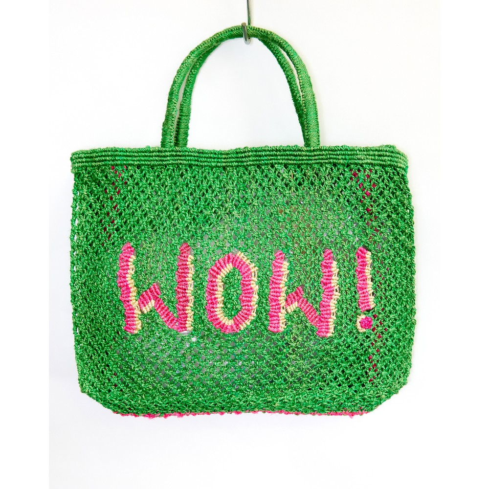 The Jacksons WOW Small Jute Bag Green/Pink