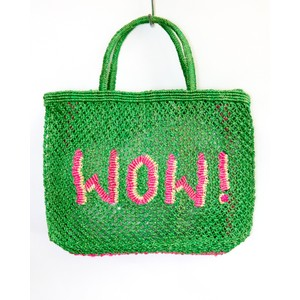 The Jacksons WOW Small Jute Bag in Green/Pink