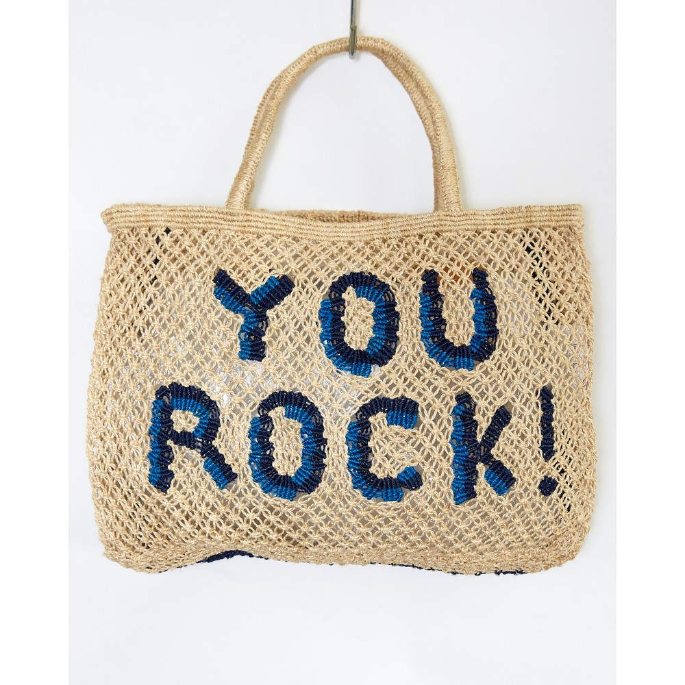 The Jacksons You Rock Small Jute Bag Natural/Indigo