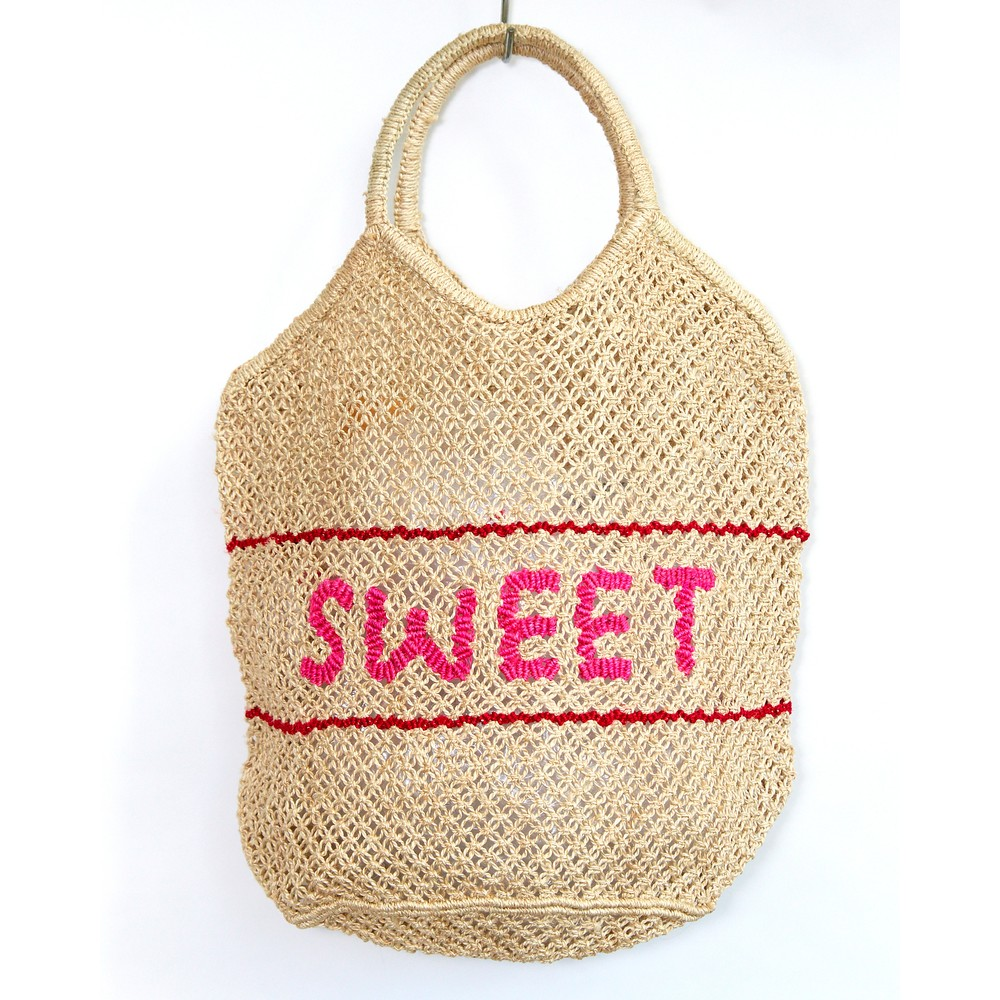 The Jacksons Millie Sweet Large Jute Bag Natural/Pink