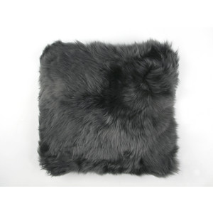 Fibre Sheepskin Cushion - Square in Steel
