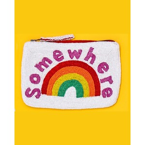 The Jacksons Somewhere Over the Rainbow Beaded Purse White/Rainbow