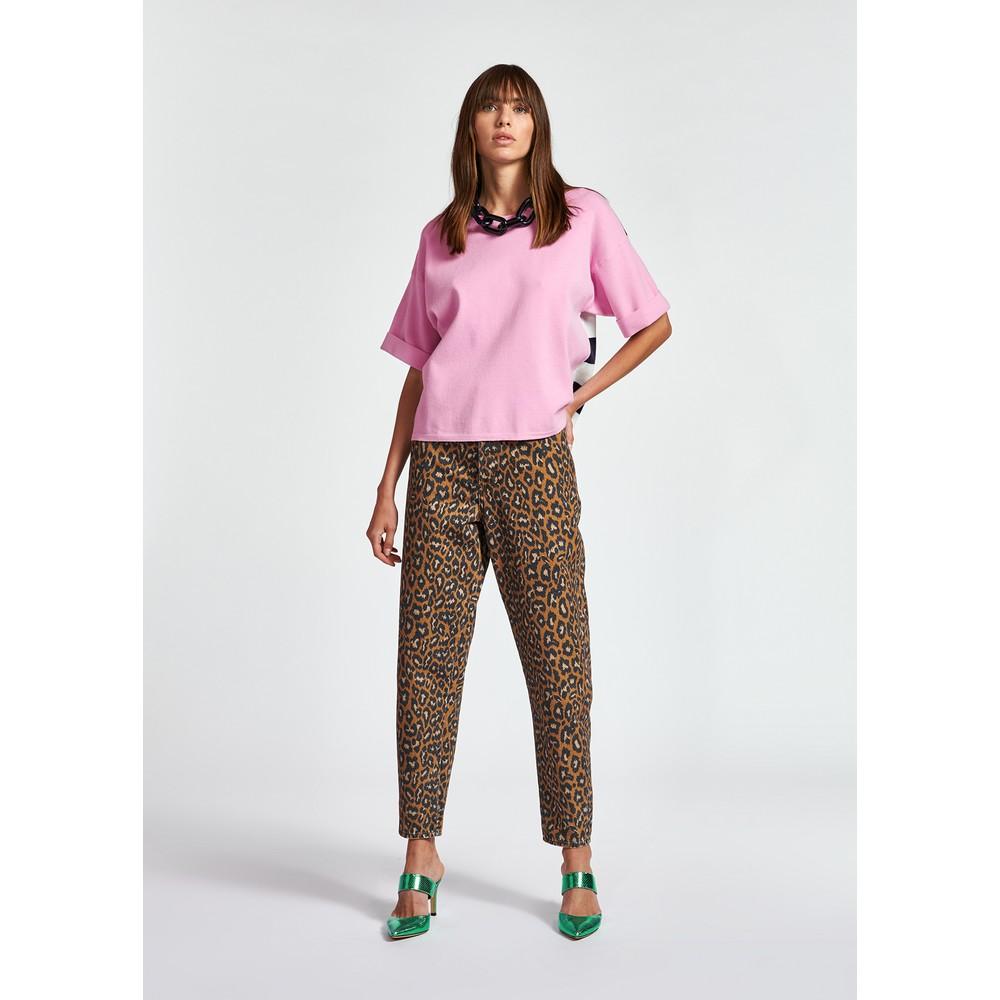 Essentiel Antwerp Zrad S/S Stripe Back Sweater Pink/Navy/White Stripe