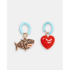 Zeshark Shark/Heart Earrings Multi