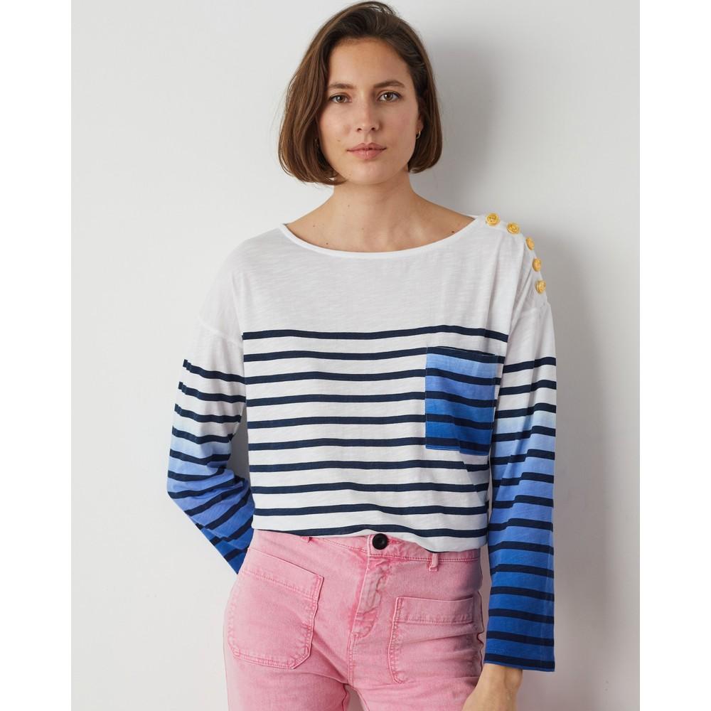 Leon & Harper Thill L/S Stripe/Ombre Tee Ombre Blue