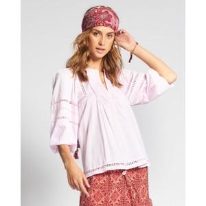 Jasmine Pintuck Bln Slv Top Pink Lady