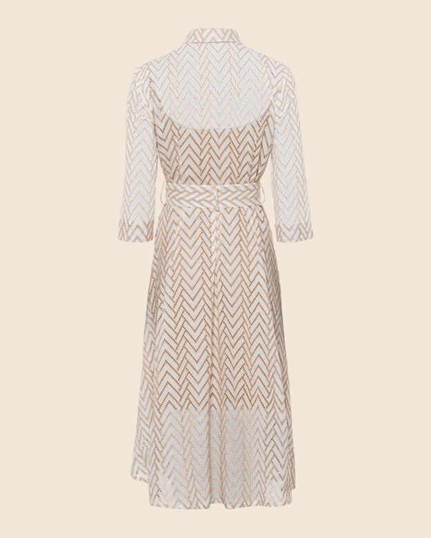 Riani Emb Ang Zig Zag Belted Dress White/Desert Sand