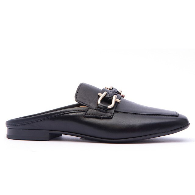 Alpe Plaited Snaffle Slide Loafer Black