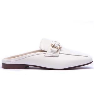 Plaited Snaffle Slide Loafer White