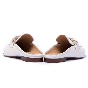 Alpe Plaited Snaffle Slide Loafer White