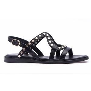 Flat Studded Strappy Sandal Black