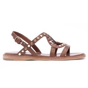 Flat Studded Strappy Sandal Tan