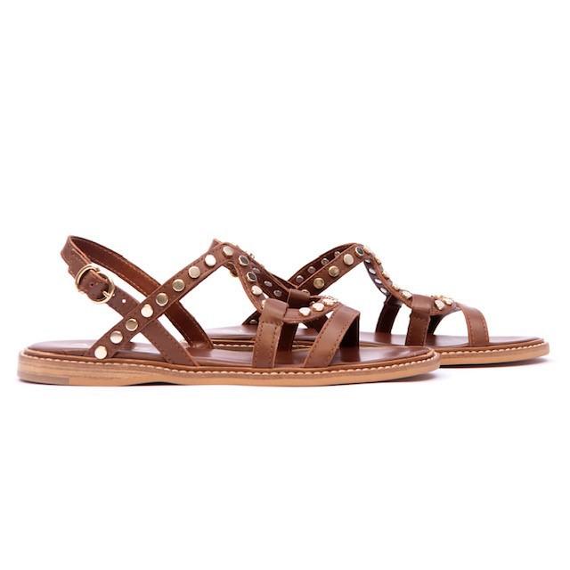 Alpe Flat Studded Strappy Sandal Tan