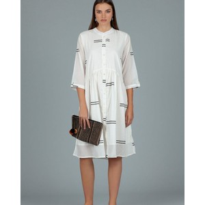 Lerwick Double Stripe Dress White/Stamp Black