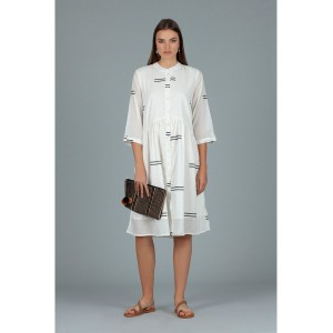 Dream Lerwick Double Stripe Dress White/Stamp Black