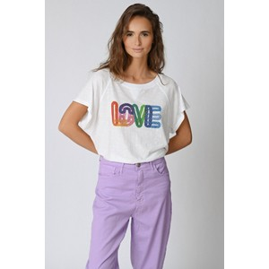 Five Sequin Love Boxy T Shirt White/Multi