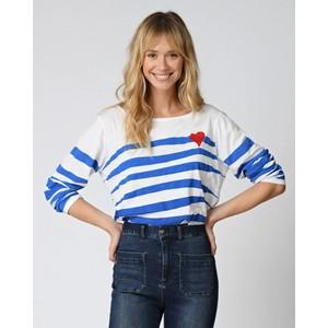 Heart Motif Stripe L/S Top French Blue/White