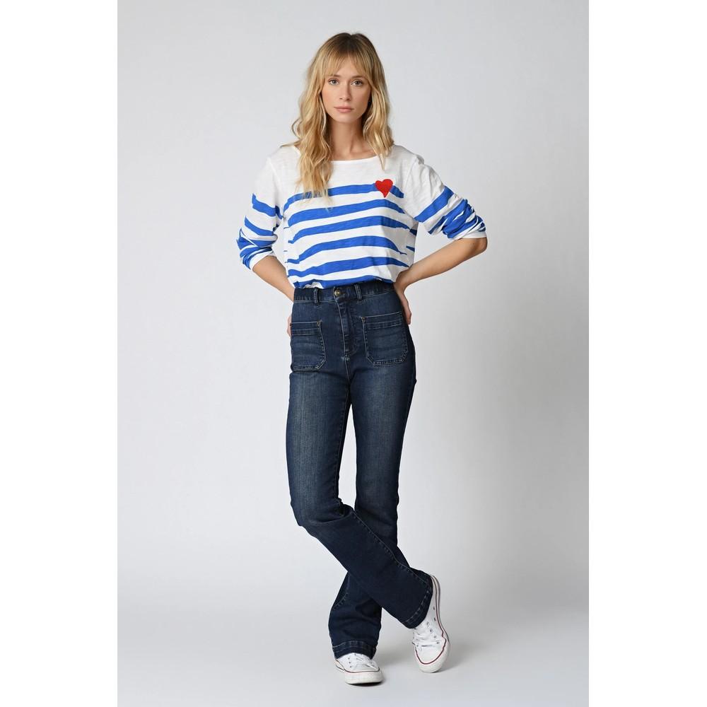 Five Heart Motif Stripe L/S Top French Blue/White