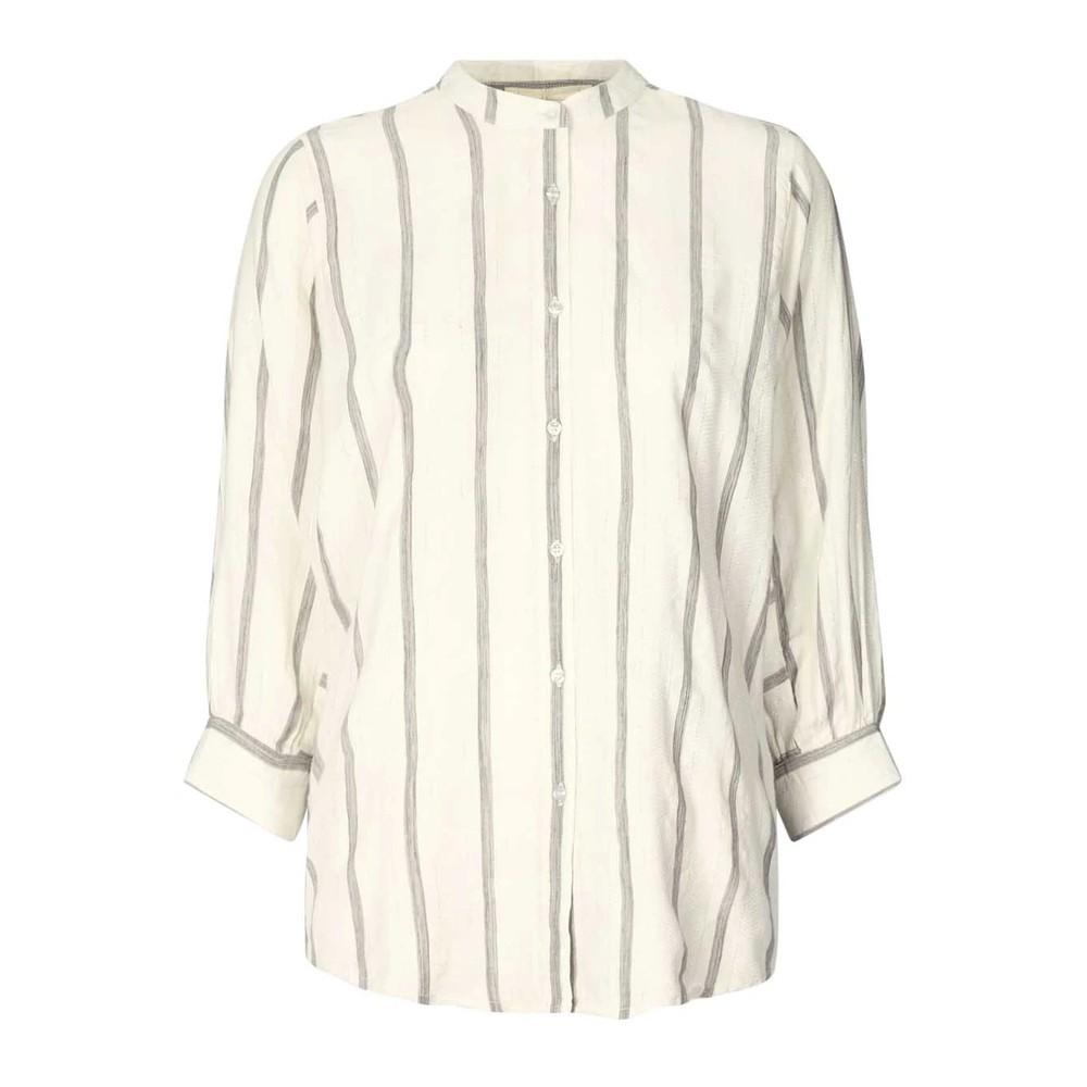 Lollys Laundry Ralph Stripe Puff Slv Shirt White/Grey