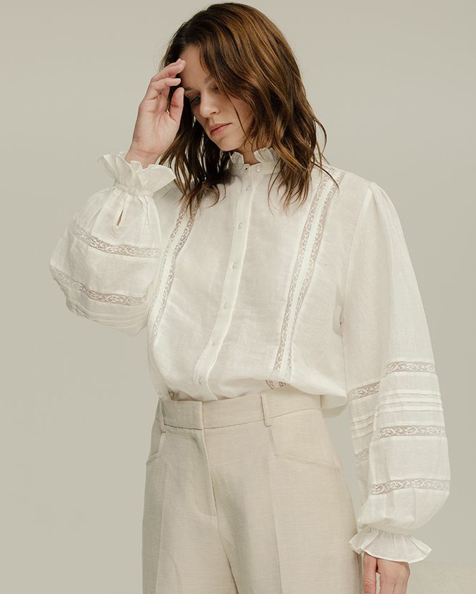Lily & Lionel Abby Lace/Cotton Linen Shirt Ivory