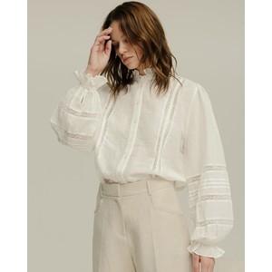 Abby Lace/Cotton Linen Shirt Ivory