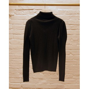 Puff Ball Shoulder Rib Knit Anthracite