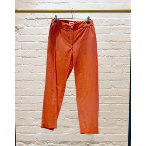 Cropped Poplin Trousers Orange