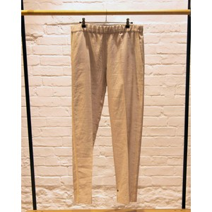 Beaded Stripe Linen Mix Trousers Beige Melange
