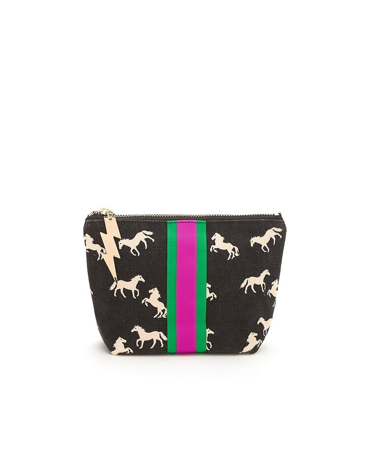 Cockatoo Pony Print Make Up Bag Black/White