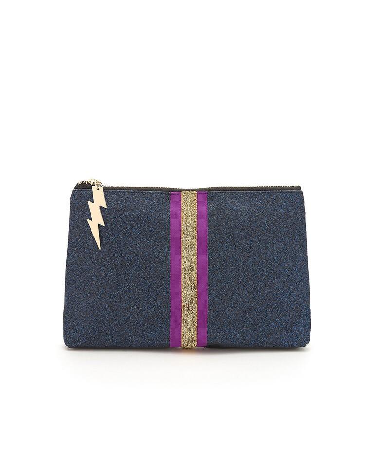 Cockatoo Glitter Clutch Bag Navy