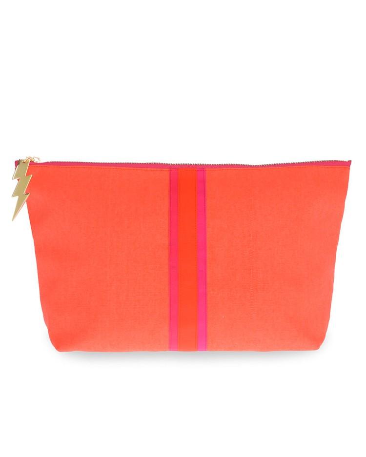 Cockatoo Stripe Wash Bag Orange