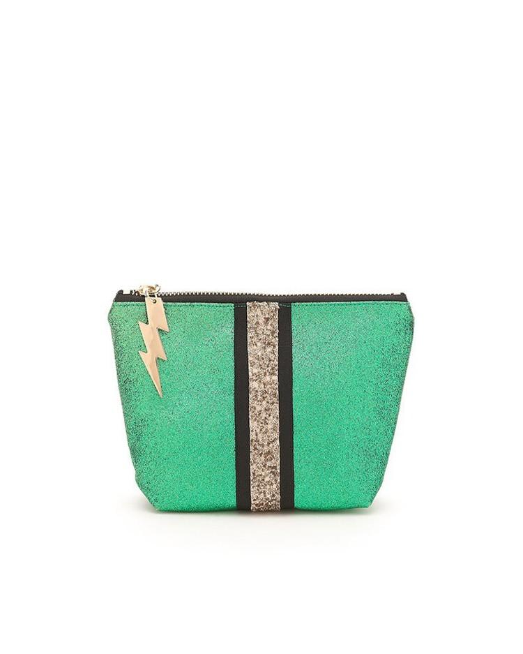 Cockatoo Glitter Stripe Make Up Bag Green