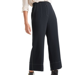 Marc Cain Contrast Stitch Wide Leg Trousers Midnight Blue