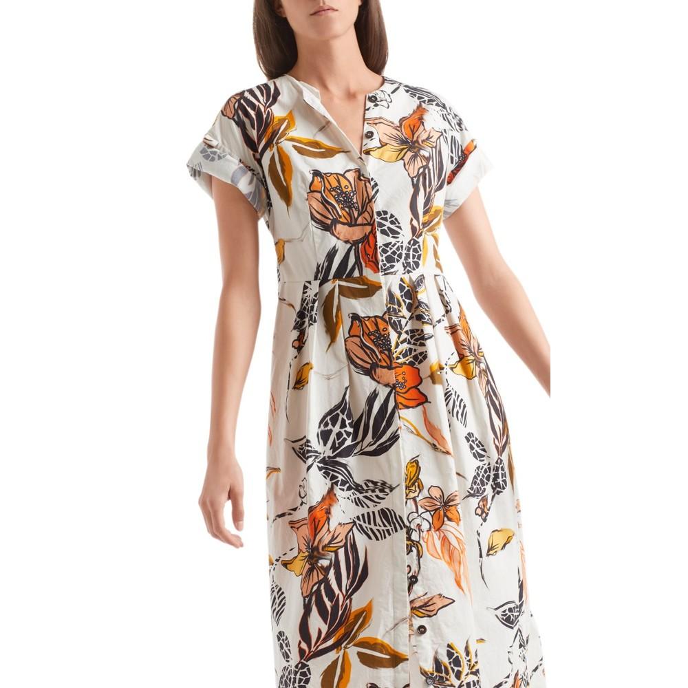 Marc Cain Tab Sleeve Tropical Cotton Dress Cashew