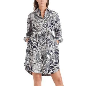 Tropical Shirt Dress with Belt Panna